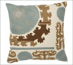 Suzani Embroidered Euro Sham, Blue Multi