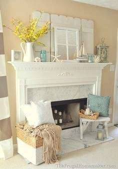 We love this beach themed fireplace. What are your favorite summer fireplace mantel items? We love this beach themed fireplace. What are your favorite summer fireplace mantel items? Design Patio, Home Design, Interior Design, Design Ideas, Interior Colors, Modern Design, Beach Cottage Style, Beach House Decor, Home Decor