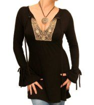 Blue Banana - Black Coin Trim Tunic Top