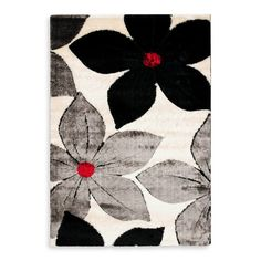 rug 8x10 - i know the colors are different than we've been looking at, but it's mostly neutral grey/cream/black with pops of red - would look great with the blue, especially if she likes the red bean bag chair