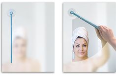 "The Bathroom Mirror Windshield Wiper by Dewa Bleisinger. Everyone can relate to the inconvenience of a foggy mirror after taking a hot shower. The designer Dewa Bleisinger has created the ""mirror clearer,"" a wiper that attaches to your bathroom mirror by a suction cup. Now with a simple rotation of the wiper you can whisk away that steamy buildup and jump into plucking your nose hairs instead of waiting for your mirror"