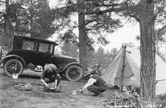 Camping; April 1924. A well-ordered camp, safe, sane, and satisfactory. Manzano National Forest, New Mexico.