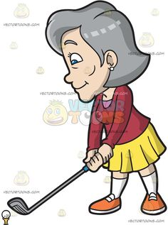 A Mature Woman Gets Ready To Swing Her Golf Club:  A mature woman with gray hair wearing a pair of white pearl earrings red sweatshirt over a pink shirt yellow skirt white socks orange with white sneakers smirks while holding a gray golf club with teal grip in her hands before hitting a white golf ball on a yellow tee  The post A Mature Woman Gets Ready To Swing Her Golf Club appeared first on VectorToons.com.  #clipart #women #female #cartoon #illustration #vectortoons #vector