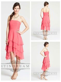 Strapless Shirred Knee Length High Low Bridesmaid Dresses