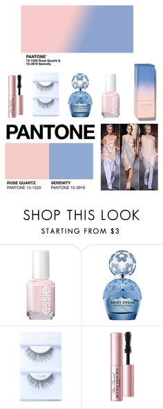 """""""ROSE QUARTZ & SERENITY"""" by pau-and ❤ liked on Polyvore featuring beauty, Essie, Marc Jacobs, Too Faced Cosmetics, pantone and 2016trends"""