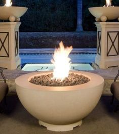 Our fire bowls can be filled with colored fire glass or lava rock and will take your yard to a whole new level! Check out our line of concrete and copper fire bowls! Diy Fire Pit, Fire Pits, Thing 1, Gas Logs, Outdoor Material, Fire Table, Fire Bowls, Fire Glass