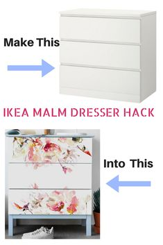 IKEA MALM DRESSER HACK  Take your Malm dresser from boring to impressive with these floral decals that are easy to appy/remove.  #ikeahack #ikea #ikeaideas #ikeahacks #ikeamalmdresserhack #ikeamalmdresser #affiliate