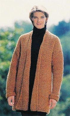 Free Crochet Pattern: Streamlined Sweater Jacket  Lion Brand® Homespun®  Pattern #: 878
