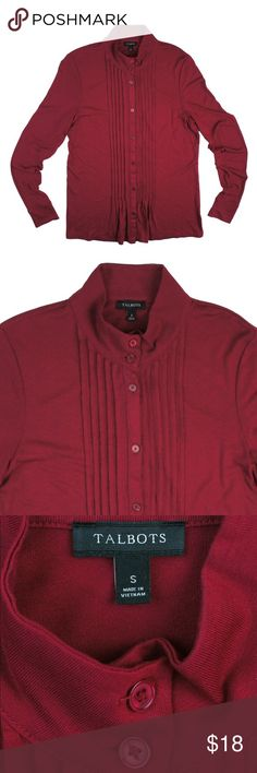 """TALBOTS Brick Red Pintuck Jersey Knit Shirt Top Excellent condition! This brick red jersey knit too from Talbots features button closure and Pintuck detail. Made of a rayon blend. Measures: Bust: 36"""", total length: 26"""", sleeves: 26"""" Talbots Tops"""