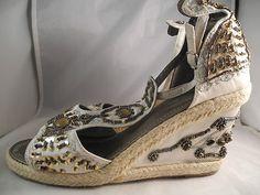 Paprika Khaki Beige Glitter Print Platform Wedge Sandals Shoes SZ 9M