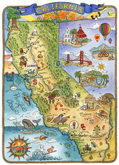 My home state. This is a print from an original watercolor and ink illustration. The image measures x 13 printed on Queen Poster, Art Carte, North America Map, Pictorial Maps, California Map, State Map, Ink Illustrations, Road Trip Usa, Tatoo