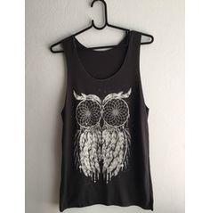 Owl Feather Pretty Night Fashion Vest Tank Top