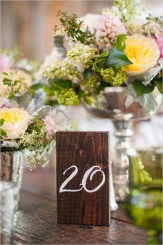 wooden block table number @weddingchicks