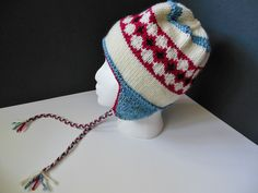 Nordic OOAK Ear Flap Bomber Red White Blue Hand Knit Hat Child Teen Adult by JustAMomFromNH on Etsy