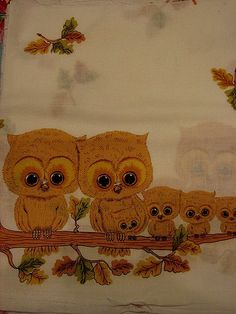 owl family (printed on thrifted fabric)