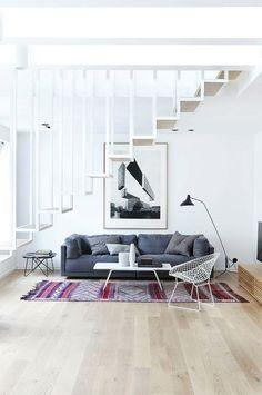 moderne treppe wohnzimmer design farbiger teppich