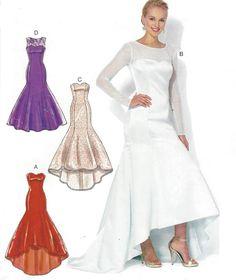 Womens Evening Gown High Low Hem Fishtail Train McCalls Sewing Pattern M7320 Size 14 16 18 20 22 Bust 36 38 40 42 44 FF DIY Wedding Dress