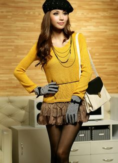Wholesale Fancy Knit Lace Adorned Blouses Yellow  Item Code:#JK2114+Yellow        Wholesale Price: US$15.50    Shipping Weight: 0.45KG