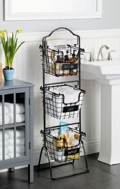This Market Basket Stand is the practical and elegant storage solution that will bring organization to any room of the house. Each of the 3 generous-sized baskets is ideal for holding everythi (Diy Bathroom Dollar Stores) Bathroom Storage Shelves, Diy Storage, Toilet Storage, Storage Hacks, Fruit Storage, Extra Storage, Bedroom Storage, Bath Storage, Creative Storage