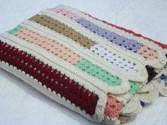 Crochet Patchwork Afghan Pattern | ... stripes retro patchwork scrap yarn crochet afghan, 70s 80s vintage