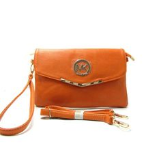 Michael Kors Fulton Messenger Small Orange Crossbody Bags Outlet