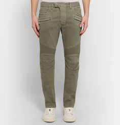 <a href='http://www.mrporter.com/mens/Designers/Balmain'>Balmain</a>'s jeans are a fusion of biker and military style. Designed in a slim cut, they're made with traditional moto-inspired details like articulated knees and ribbed panels, and come in a muted sage-green hue. Let them be the standout piece in casual outfits - a hoodie and sneakers are the most relaxed way to ace the look.
