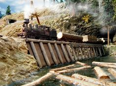model railroad sawmills | Log train – A log train arriving at the sawmill, as seenfrom the log ...