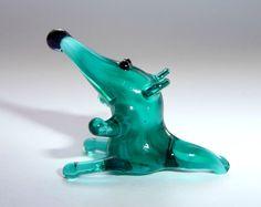 Miniature Glass Mouse Glass Figurine Green Rat от WeAreLuckyShop