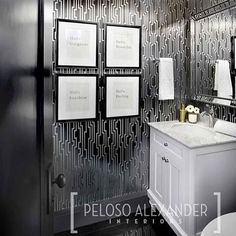 Dramatic Inspiring Powder Room Make Over With Candice Olson S Velocity Dark Grey And Silver