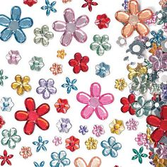 Baker Ross Self-Adhesive Acrylic Flower Jewels Pack of 180 for Kids to Decorate Arts and Crafts Assorted Cables Garden-Hand Tools Tool Accessories Bits Bits Safety Equipment-Gear Protection Mothers Day Crafts, Valentine Day Crafts, Pom Pom Decorations, Scratch Art, Rainbow Butterfly, Acrylic Flowers, Handmade Greetings, Arts And Crafts Supplies, Spring Crafts