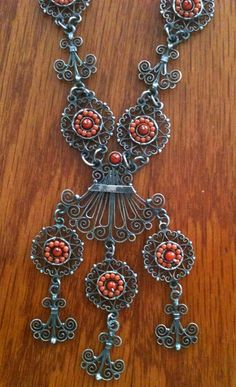 Frida style Necklace made in filigree and coral  FREE by titarubli, $350.00