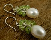 Fresh Water Pearl and Peridot Cluster Earrings @ taliaserinese.etsy.com