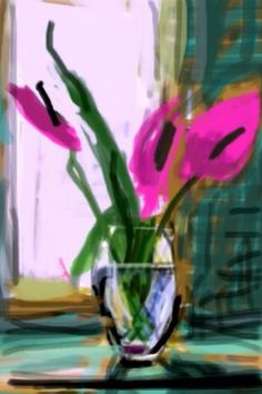 Still life painted on David Hockney's iPad. #flower #floral Links to great article on his thoughts behind iPad art.