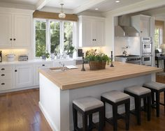 Beautiful Home Project for Hot Springs Holiday: Sleek Traditional Kitchen White Oak Countertop Hot Springs