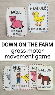 Gross Motor Farm Game Preschoolers and toddlers will love moving like things fou… Gross Motor Farm Game Preschoolers and toddlers will love moving like things found on the farm with this free printable gross motor farm movement game! Print and play! Farm Games, Farm Activities, Animal Activities, Infant Activities, Music Activities, Pe Games, Therapy Activities, Physical Activities, Preschool Movement Activities