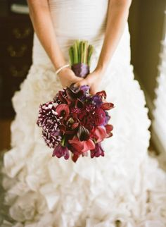 Liking the dahlias and callas in this bouquet, but too stiff in style Deep Purple Wedding, Red Wedding, Floral Wedding, Wedding Colors, Fall Wedding, Wedding Bouquets, Wedding Flowers, Burgundy Wedding, Wedding Stuff