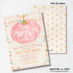 Pink little Pumpkin Is On Her Way Invitation Printable Fall