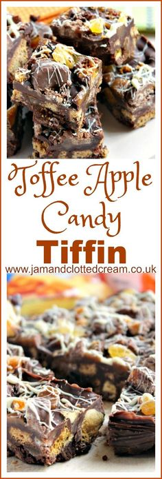 A Bonfire Night Toffee Apple and Chocolate Tiffin Recipe with Toffee Crisps, Chewy Toffee's, Dried Apples and Honeycomb, encased in milk and dark chocolate with crushed gingernut biscuits.