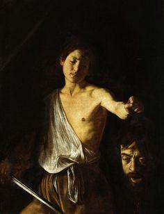 David tenant la tête de Goliath (1610) par Le Caravage. Caravage peint ce tableau avec une émotion vive en se focalisant plus particulièrement sur la tête pendante, gorgée de sang, que tient David par les cheveux, le torse à moitié nu en pleine lumière, l'air triste. Le Caravage a peint quelques années plus tôt le même thème : on voit un David triomphant. Ici il semble résigné. La tête de Goliath semble parler. Certains spécialistes y voient une évocation de sa condamnation à mourir…