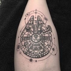 Millenium Falcon done on @catslovecooking at the Sydney Tattoo Expo today…