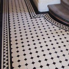 London Mosaic - Georgian Octagon Hall Tiles Too much contrast Hall Tiles, Tiled Hallway, Entry Tile, White Hallway, Hall Flooring, Kitchen Flooring, White Flooring, Garage Flooring, Modern Flooring