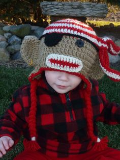 FREE USA SHIPPING Pirate Sock Monkey with by SSPDTBoutique on Etsy, $25.00