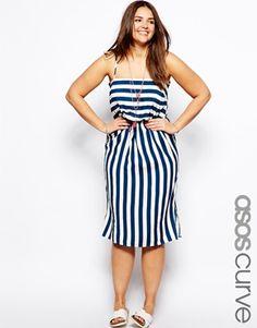 Enlarge ASOS CURVE Exclusive Midi Dress In Stripe