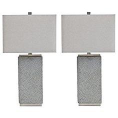 Signature Design by Ashley - Amergin Table Lamps - Set of 2 - Faux Concrete - Urban Chic - Grain Concrete Table, Table Lamp Sets, Urban Chic, Program Design, Advertising, Minimalist, Website, Amazon, Lighting