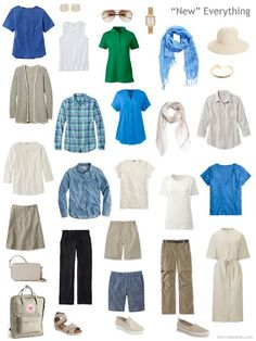 a larger travel capsule wardrobe in blue, green, beige and black