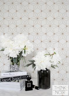 Geometric Flower Wallpaper / Geometric Removable or Regular Wallpaper / Flower Wall Mural / Geometric Flower Wallpaper Foyer Decor Ideas Flower Geometric Mural Regular removable Wall Wallpaper Wallpaper Flower, Wallpaper Paste, Wall Wallpaper, Adhesive Wallpaper, Wallpaper Wallpapers, Neutral Paint, Grey Paint, Geometric Removable Wallpaper, Textured Wallpaper