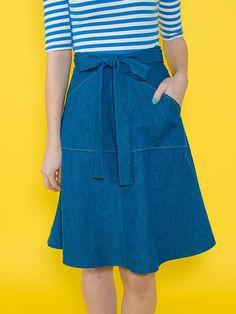 Miette skirt easy sewing pattern for beginners - flared wrap around skirt with fantastic pocket and front tie