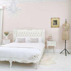 Provencal Ivory Velvet Upholstered Bed | French Bed - French Bedrooms