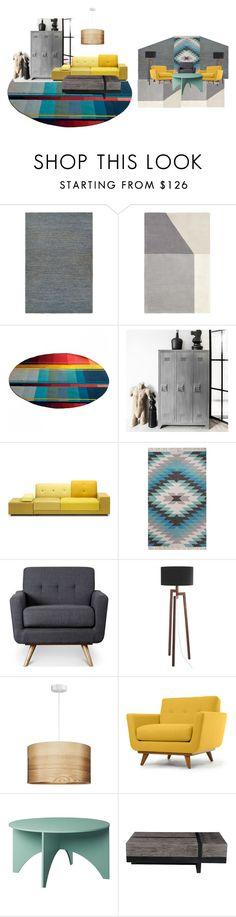 """area de empleados"" by isarely-pore ❤ liked on Polyvore featuring interior, interiors, interior design, home, home decor, interior decorating, Couristan, Polder, NOVICA and Thrive"