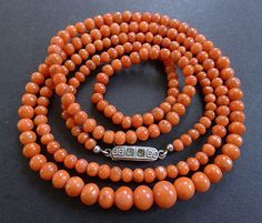 """Antique Vintage Victorian Natural Salmon Pink Coral Graduated Bead Necklace 28""""  eBay"""